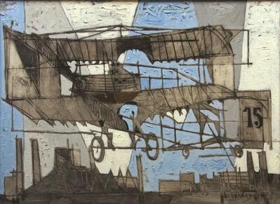 Claude Venard, 'Biplan au-dessus de Paris (Bi-plane over Paris)', 1955
