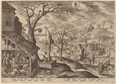 Adriaen Collaert, 'The Nativity and the Flight into Egypt (Aquarius)', 1585