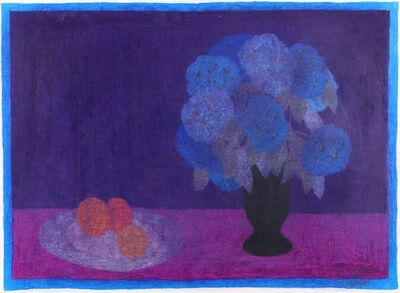 Bernard Myers, 'Still life with flowers and oranges'
