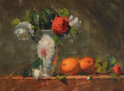 Stacy Barter, 'Oriental Vase and Oranges'
