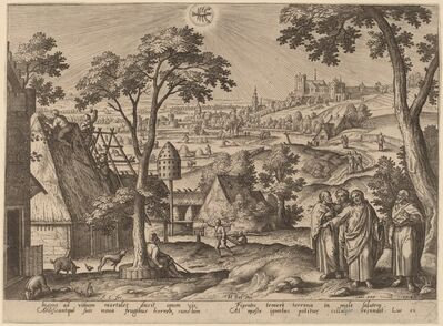 """Adriaen Collaert, '""""He that layeth up treasure for himself..."""" (Cancer)', 1585"""