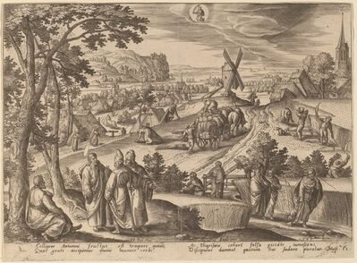 """Adriaen Collaert, '""""A group of Pharisees swelling with false pride cursed the disciples"""" (Virgo)', 1585"""