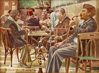 "Abd Al-Mannan Shamma, '""Nowfara Cafe visitors in old Damascus"" رواد مقهي النوفرة بدمشق القديمة', 1996"
