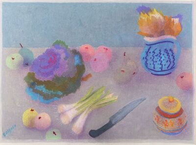 Bernard Myers, 'Still life with vegetables and flowers'