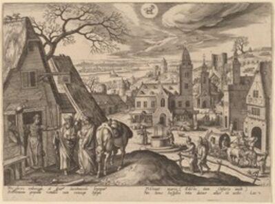 Adriaen Collaert, 'The Virgin and Joseph Refused at the Inn (Capricornus)', 1585