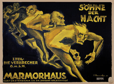 Josef Fenneker, 'Sohne Der Nacht - Sons of the Night - Marmorhaus Theater', 1921