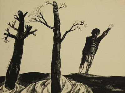 Laxma Goud, 'Untitled (Man with Two Trees)', 1975