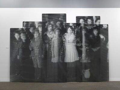 JR, 'Migrants, after Immigrant children, Ellis Island, New-York, courtesy of National Archives, glass panels, 2018', 2018