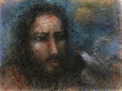 Suhas Roy, 'Christ, pain and agony, Eyes conveying gloom, despair, Pastel on paper by Indian Artist Suhas Roy', 2007
