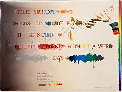 Shusaku Arakawa, 'NO! SAYS THE SIGNIFIED (...OR IF HE LEFT SUDDENLY WITHOUT A WORD)', 1973