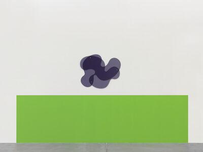 Wall Painting (NCS S 0575-G20Y), 100 x 360 cm, Plexiglass-Object, 2-pcs, 71.5 x 85 x 0.6 cm (GS Grey 7C82), bolts, washer