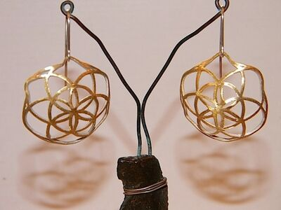 Large, Domed Gold-Plated, Sterling Silver Earrings With Ornaments