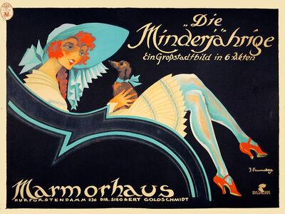 Josef Fenneker, 'Die Minderjahriqe - Marmorhaus Theater - Woman and Dog', 1921