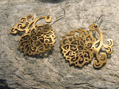 Large, Graceful, Sterling Silver, Gold Plated Earrings With Ornaments