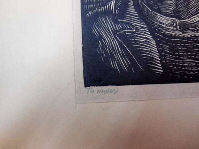 """WPA Expressionist woodblock print. """"The Worker"""""""