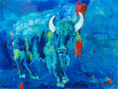 Tracy Lee Griffith, 'Buffalo Soldier, acrylic, resin, original, blue, signed', 2017