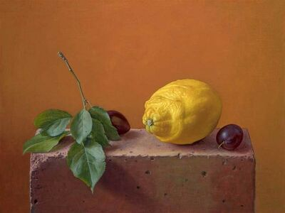 Lemon and Damsons on a Brick