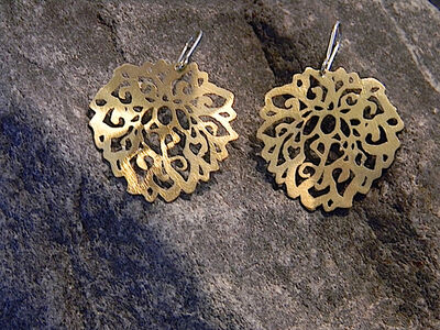 Large, Graceful Sterling Silver Gold-Plated Earrings With Ornaments