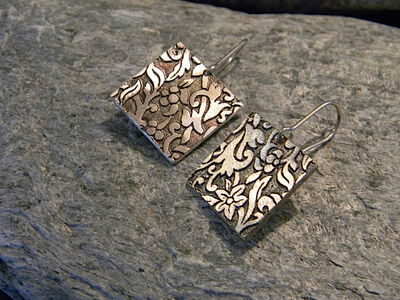 Bronze Colored Sterling Silver Earrings With Relief