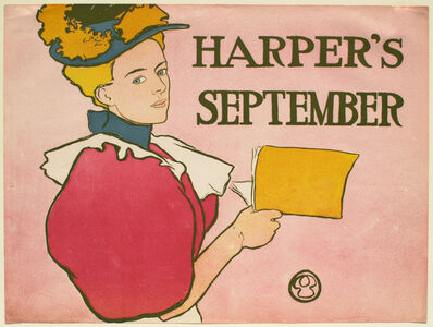 Edward Penfield, 'Young Woman in a Deep Pink Dress Holding an Issue of Harper's Magazine, September Harper's', 1896-1900