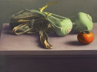 Still Life with Kohlrabi and Persimmon