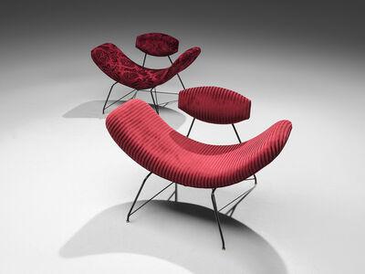 Eisler, 'Martin Eisler Armchairs in Red Velvet', 1955