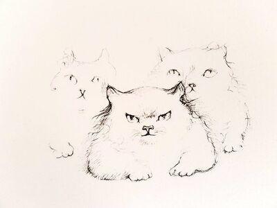 """Leonor Fini, 'Original Etching """"Cats"""" by Leonor Fini', 1985"""