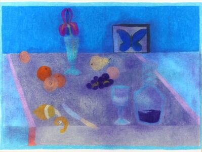 Bernard Myers, 'Still life with a peeled lemon, butterfly and other fruits'