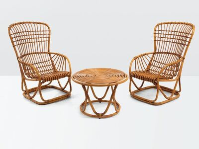 Tito Agnoli, 'a set of wicker furniture made up by two chairs and a table', ca. 1960