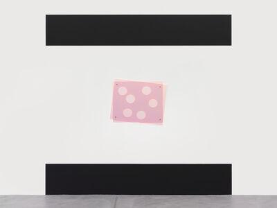 Wall Painting (RAL 9005 Deep Black), each 50 x 300 cm, total Height 240 cm / Plexiglass-Object, 2-pcs, 75.5 x 92.5 x 0.6 cm (GS Red 3C50), bolts, washer