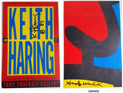 """Keith Haring, '""""Keith Haring & Andy Warhol"""", 1987, RARE Signed by Both Haring & Warhol, Exhibition Invitation, Shafrazi Gallery NYC, UNIQUE', 1987"""