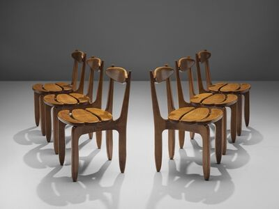 Guillerme et Chambron, 'Patinated Set of Dining Chairs', ca. 1960