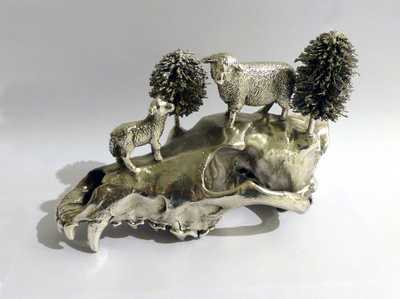 Silverplated Wolf Skull