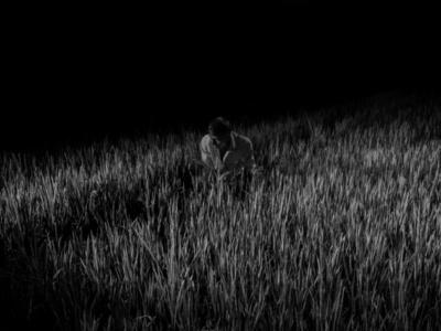 Farmer working on a rice field. Tulas Village, India
