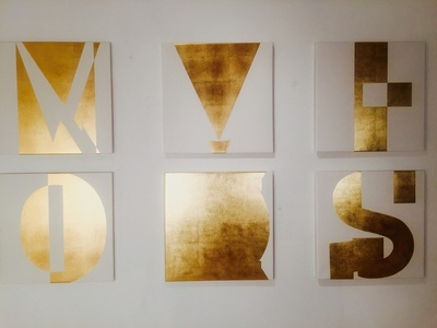 Group of 60x60cm gold leaf on canvas