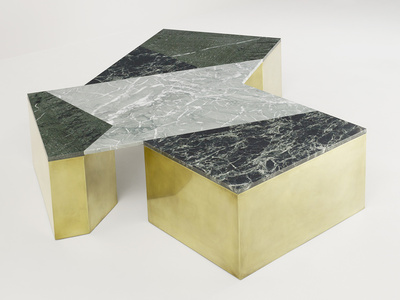 Mixed Marble Coffee Table - Green