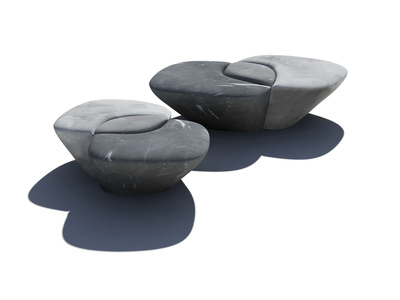 "Bench ""métissage""  - in lava stone and marble"