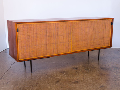 Walnut and Woven Cane Credenza