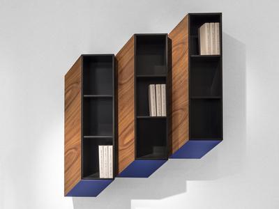 Cinétisme II Wall Cabinet (Blue & Chestnut)