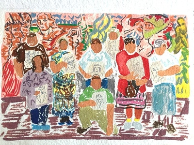 Study for Wise Elders Portraiture Class at Centro Tyrone Guzman with En Familia hay Fuerza, mural on the history of immigrant farm labor to the United States