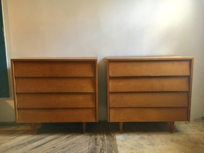 Pair of Four-Drawer Maple Chests