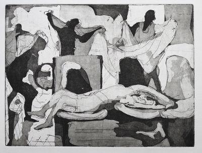 Dena Schutzer, 'Laundromat, Girl on Chair with figures', 2017
