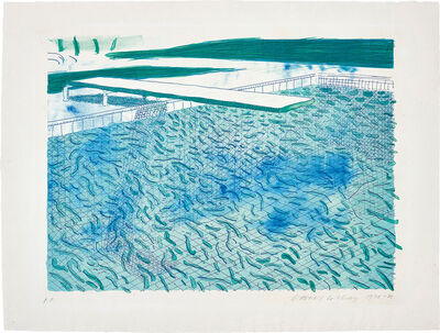 David Hockney, 'Lithograph of Water Made of Lines, a Green Wash, and a Light Blue Wash', 1978-80