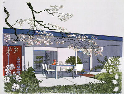 Carlos Diniz, 'Monarch Bay Homes, Outdoor Dining Room (Grey), Ladd and Kelsey, Architects', 1961