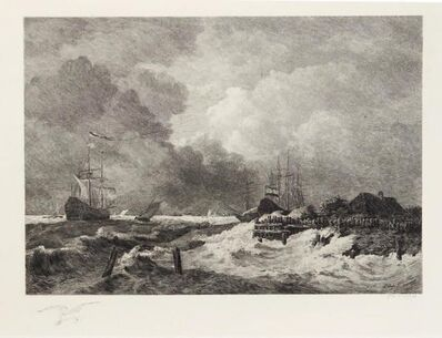 Paul Huet, 'La tempête (The Storm) [with] Brisants, Granville (Breakers, Granville)', 1903