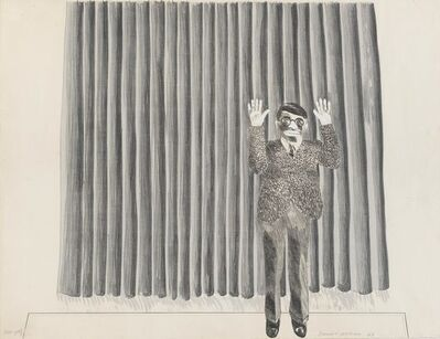 David Hockney, 'Figure By Curtain', 1964