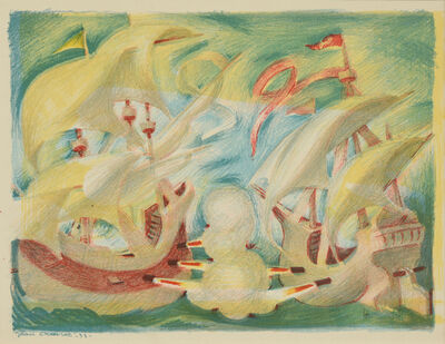 Jean Charlot, 'Naval Skirmish, from Picture Book: 32 Original Lithographs by Jean Charlot', 1933