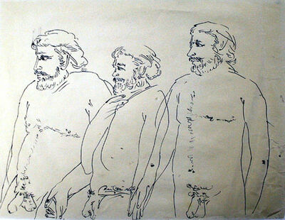 Laxma Goud, 'Untitled (Three Bearded Men)', 1980