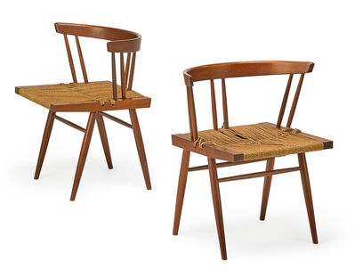 George Nakashima, 'Two Grass-Seated chairs, New Hope, PA'