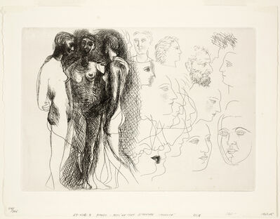 Pablo Picasso, 'Three Standing Nudes, at Right, Sketches of Heads (Trois nus debout, à droite esquisses de têtes), plate IX from The Unknown Masterpiece (Le Chef d'Oeuvre Inconnu) by Honoré Balzac', 1927